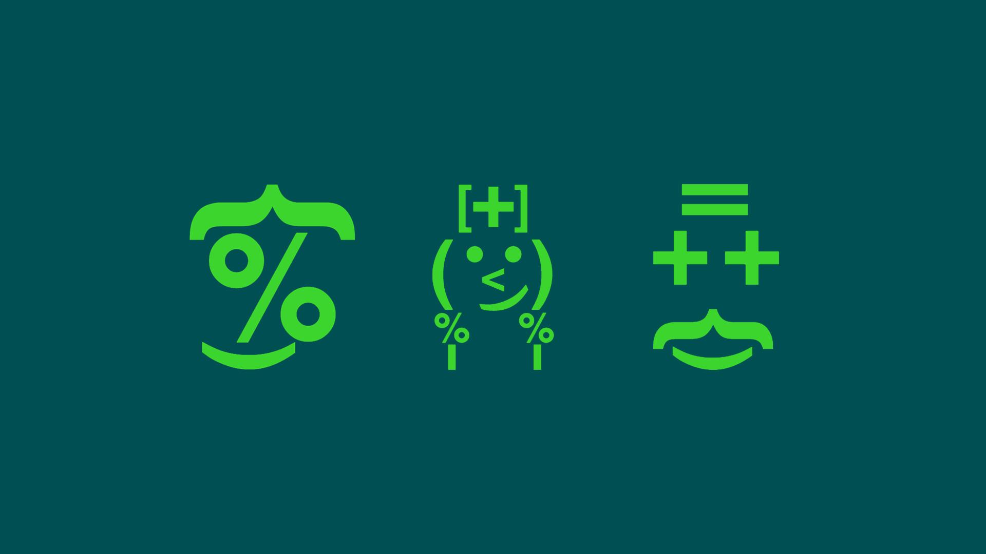 Illustrerade symboler med olika ekonomitecken som plus och minus som bildar figurer likt emojis